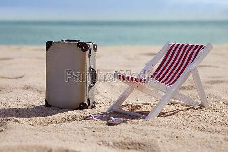 deckchair with suitcase