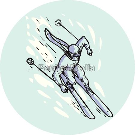 skiing slalom circle etching