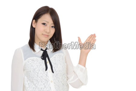 young asian woman hand showing blank