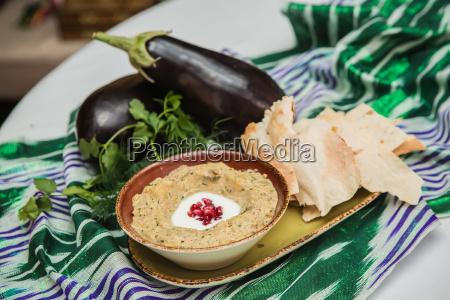 traditional arabian eggplant dip baba ganoush