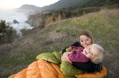 woman and child camping on the