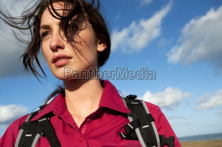 close up of a woman hiking