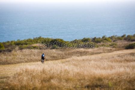 mountain biking in a seaside park