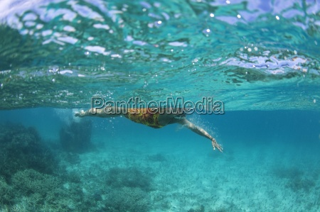 underwater view of a swimmer enjoying