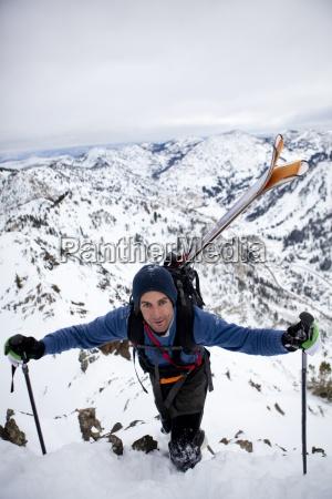 a man hiking the ridge if