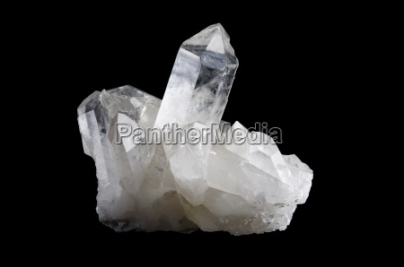 quartz crystal cluster horizontal on black