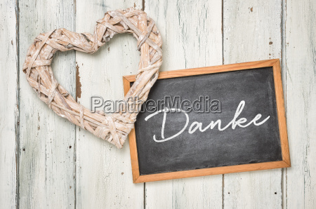 chalkboard with braided heart thank
