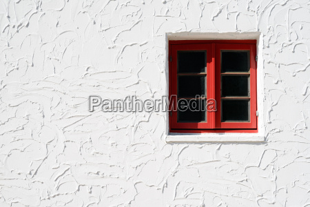 vintage red window on the white