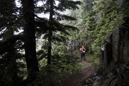 a hiker wearing an orange jacket