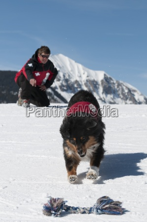 male ski patroller and his search
