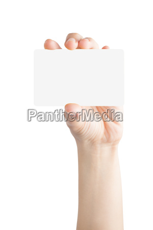 female hand hold blank card