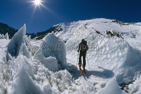 ski touring through ice penitentes
