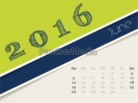 simplistic june 2016 calendar design