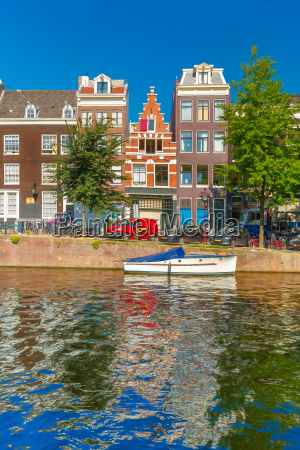 amsterdam canals and typical houses holland