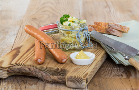 sausages with mustard and potato salad