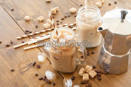 iced coffee in vintage jug