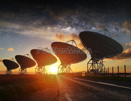 radio telescope view at night