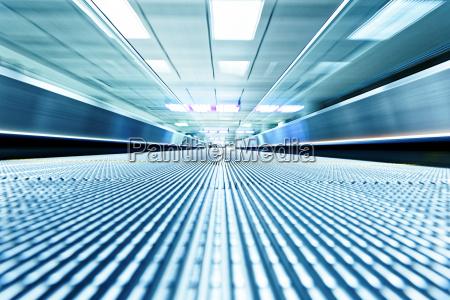 symmetric, moving, blue, escalator, inside, contemporary - 14038537