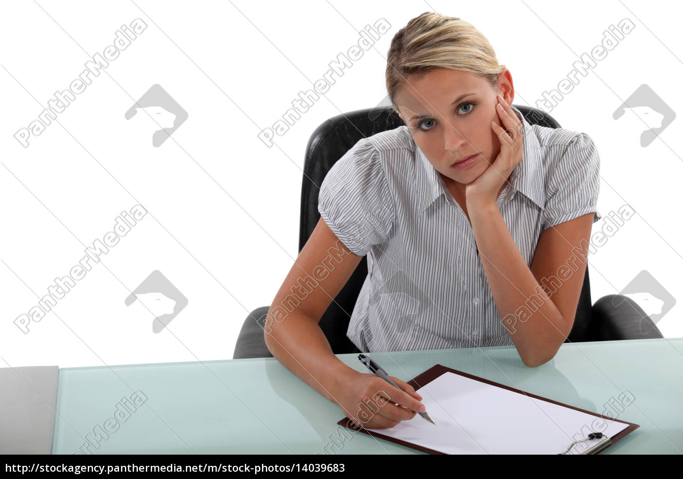 bored, woman, taking, notes - 14039683