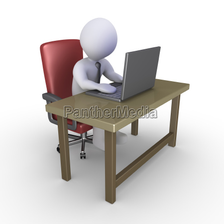 businessman, at, office, with, laptop - 14039307