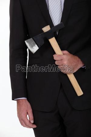 businessman, holding, axe - 14039665