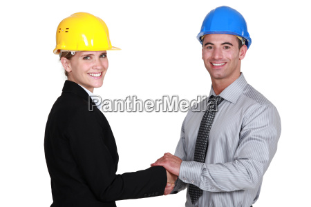 businesswoman, and, businessman, shaking, hands - 14039659