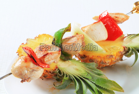 chicken, skewer, and, fresh, pineapple - 14039591