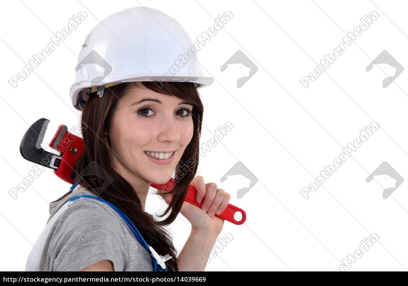 woman, resting, wrench, on, shoulder - 14039669