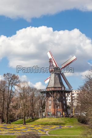 the historic herdentor windmill in bremen