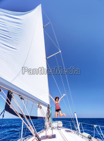 having fun on sailboat