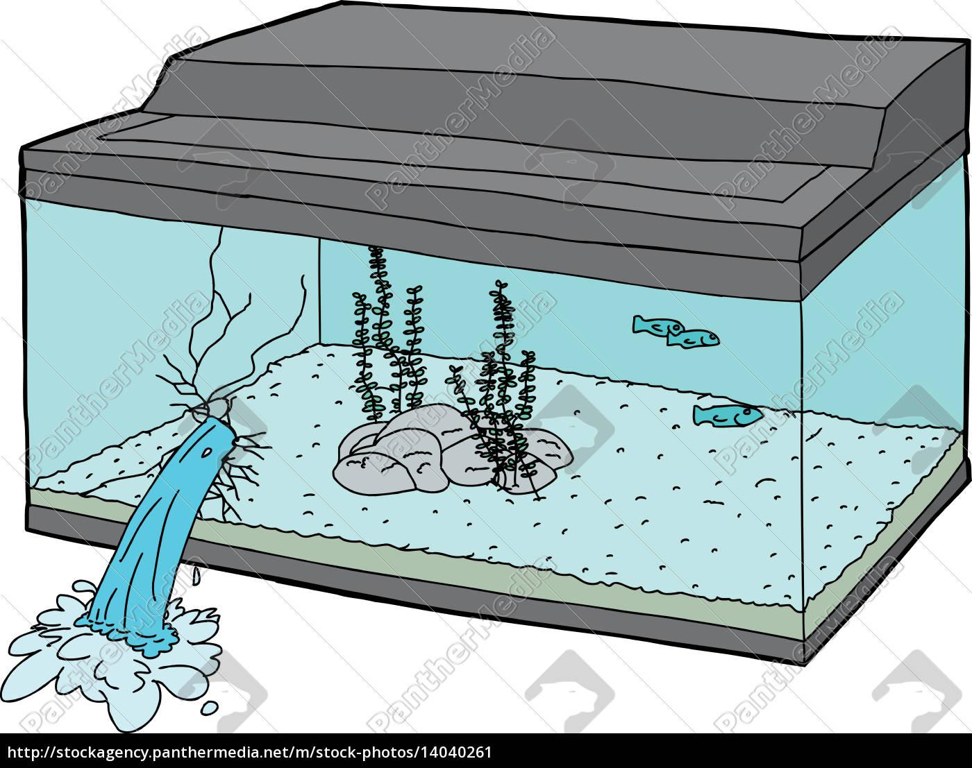broken, fish, tank, with, fish, swimming - 14040261