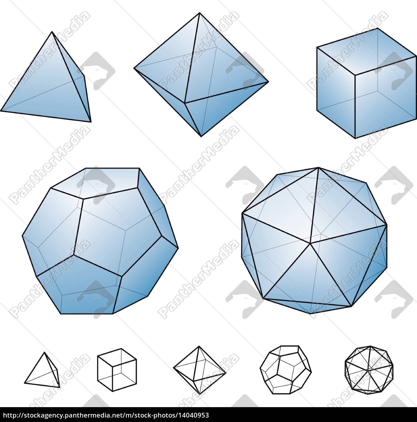 platonic, solids, with, blue, surfaces - 14040953
