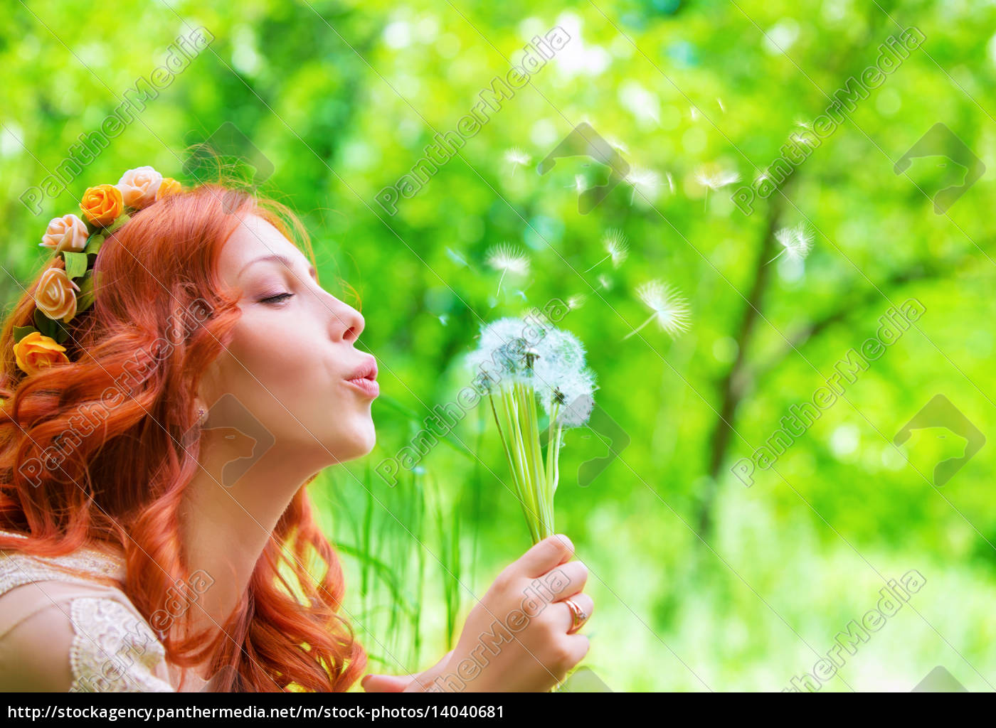 pretty, woman, blowing, on, dandelion - 14040681
