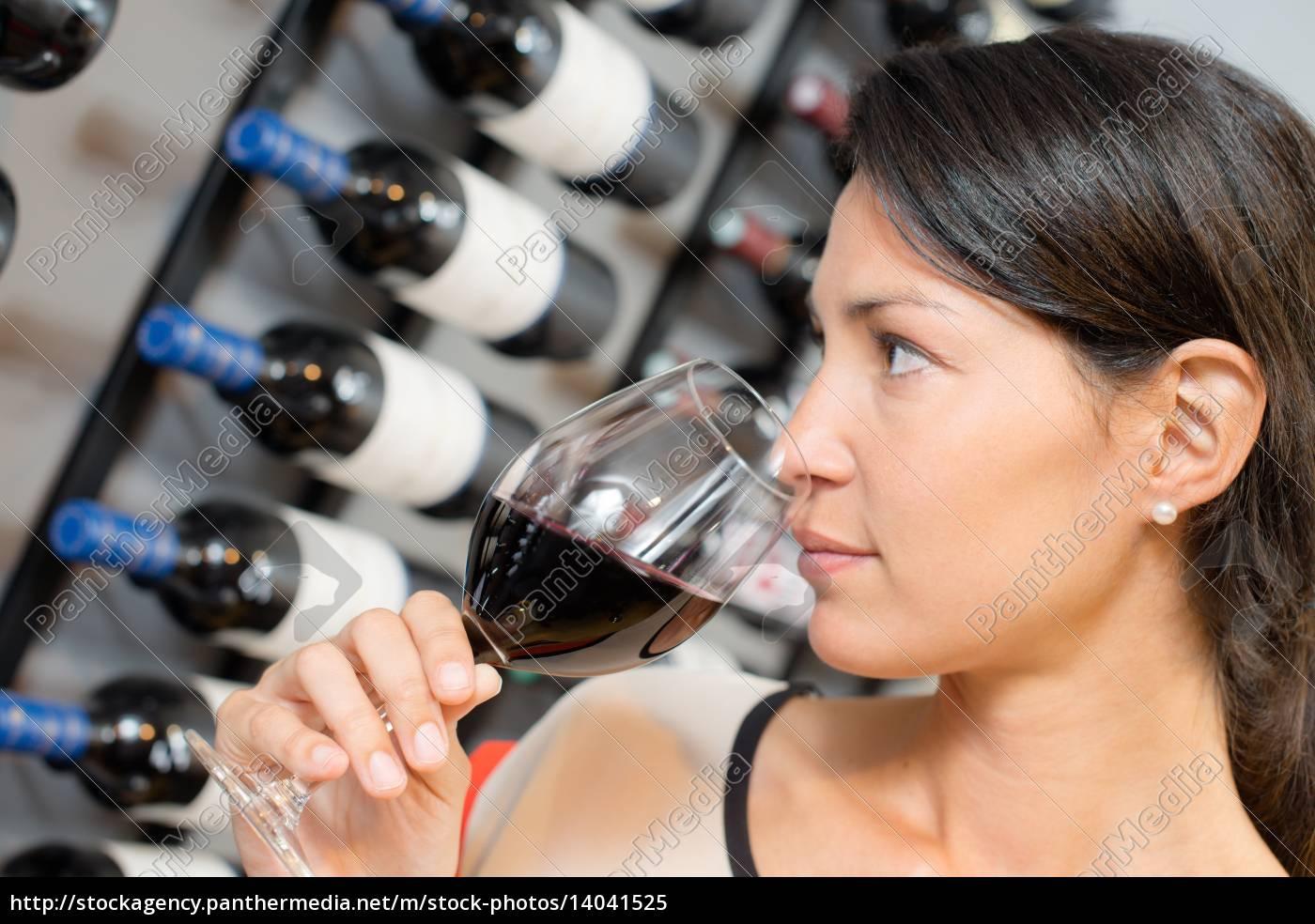 brunette, smelling, wine - 14041525