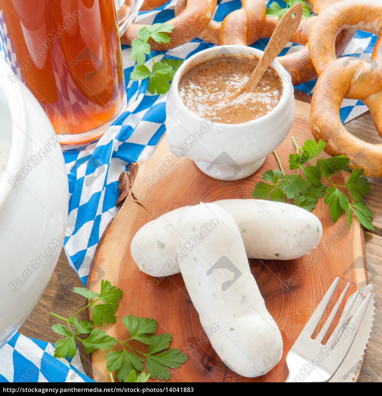 white, sausage, with, sweet, mustard - 14041883