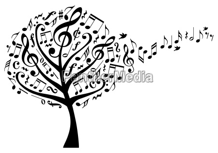 music tree with musical notes