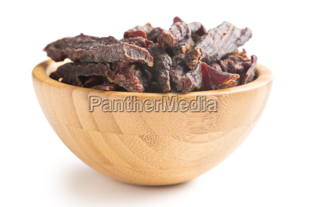 beef, jerky, in, wooden, bowl - 14044829