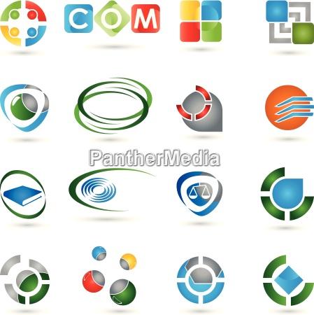 collection, of, logos, icon, vector, 3d - 14044623