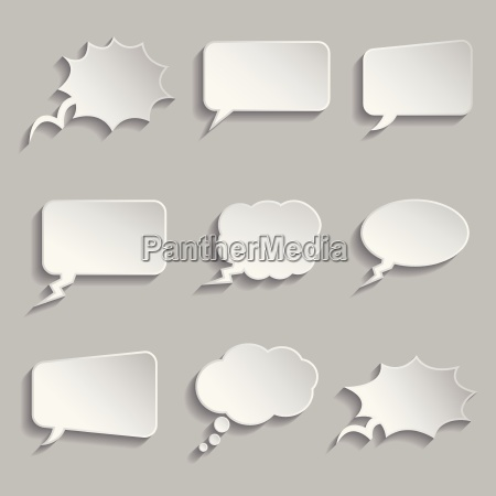 collection of comic style thought bubbles