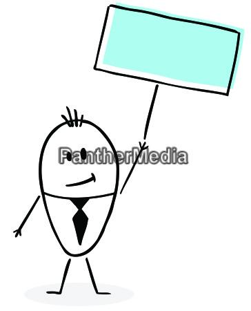 happy, hand, drawn, businessman - 14045157