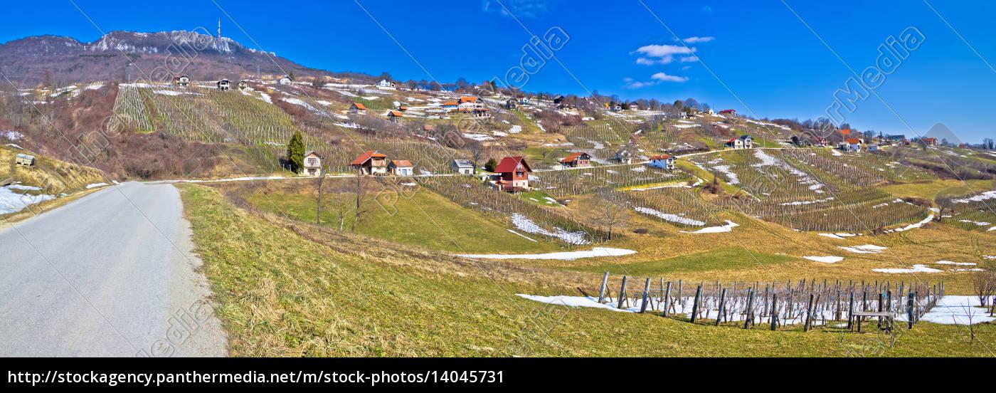 kalnik, mountain, vineyards, and, cottages, panorama - 14045731