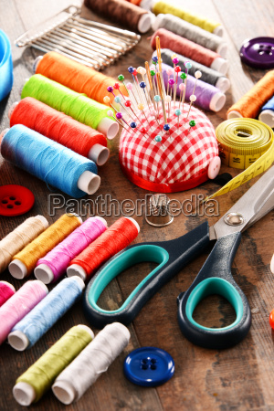 composition with tailor accessories on wooden