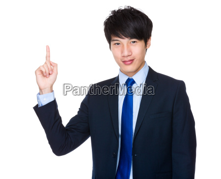 asian, businessman, pointing, up - 14047755