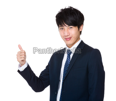 happy, young, handsome, business, man, show - 14047711