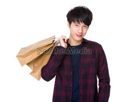 young, asian, man, shopping, and, holding - 14047677