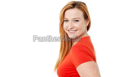 smiling, woman, looking, at, camera - 14048415
