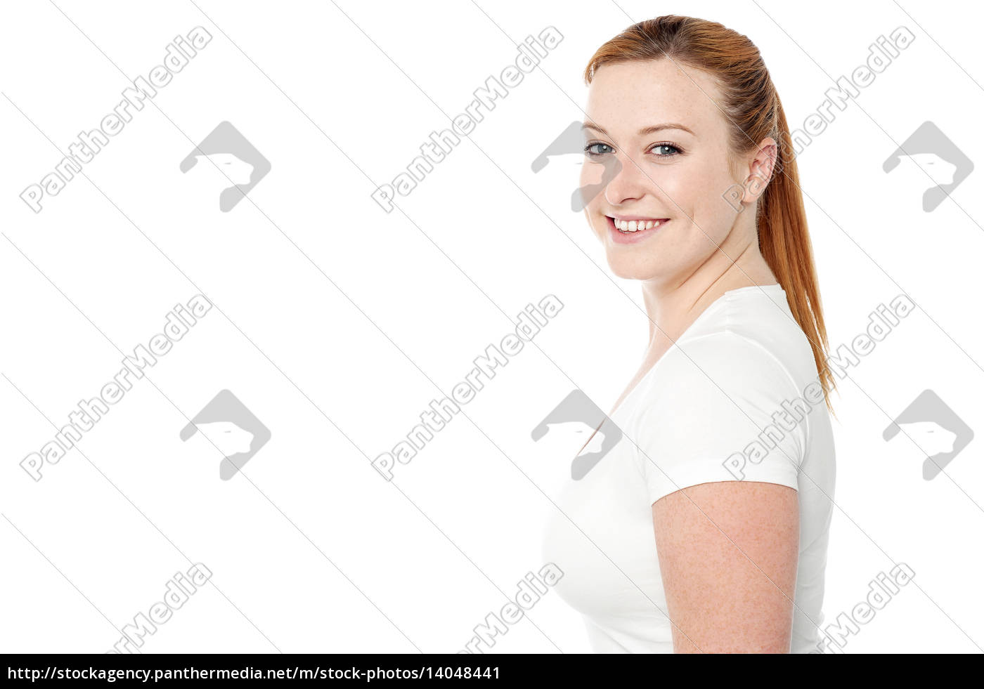 smiling, woman, posing, in, casuals - 14048441