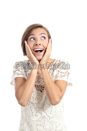 happy shocked woman looking at side