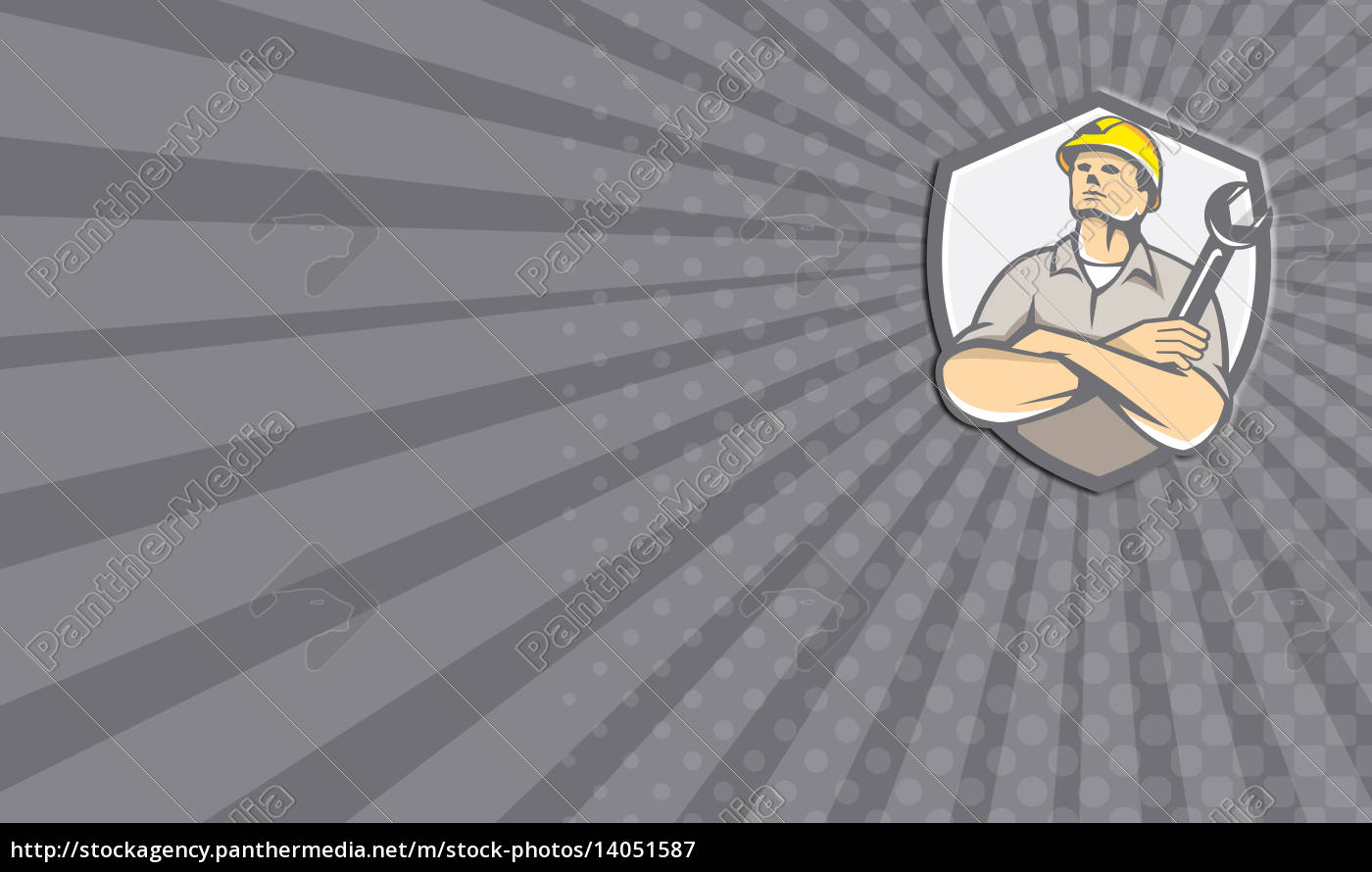 business, card, builder, arms, crossed, wrench - 14051587