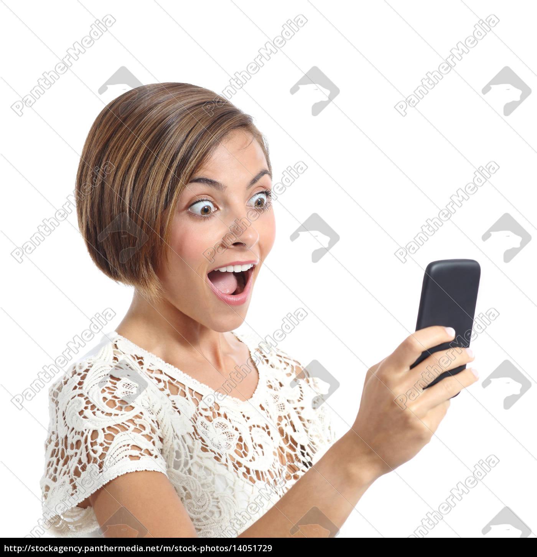 happy, woman, surprised, looking, her, smart - 14051729